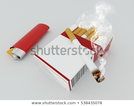 3D render of a pack of cigarettes with red lighter on white background stock photo © danilo_vuletic