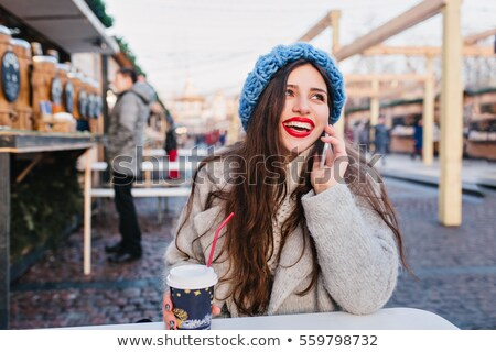 Portrait of gorgeous young woman with red lips Stock photo © deandrobot