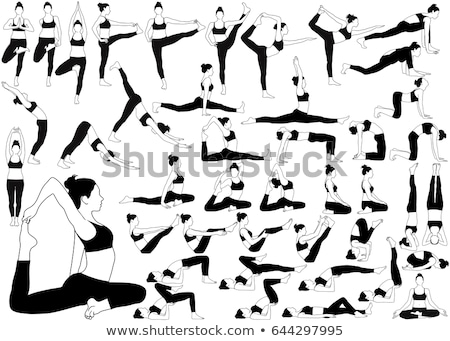 concentrated strong fitness lady make sport stretching exercise stock photo © deandrobot