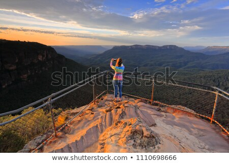Sunrise views over Jamison Valley to Mount Solitary Australia Stock photo © lovleah