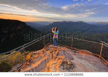 vale · azul · montanhas · Austrália · primeiro · luz - foto stock © lovleah