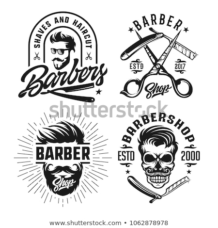 Skull Vintage Barber Shop Logo Retro Design Template Vector Illustration Stock photo © doddis