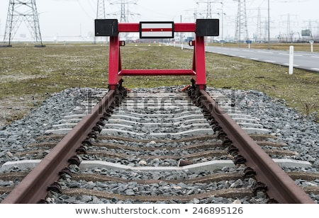 red railroad buffer stop Stock photo © compuinfoto