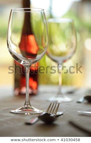 Közelkép étel borospohár étkezőasztal étterem nő Stock fotó © wavebreak_media