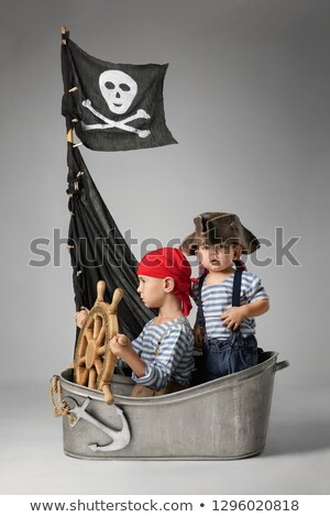 jelenet · kalóz · hajó · óceán · illusztráció · lány - stock fotó © bluering
