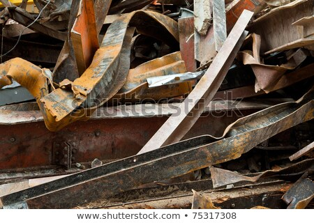 Big Pile Rusty Scrap Steel Girders Demolition Site Stock photo © Qingwa