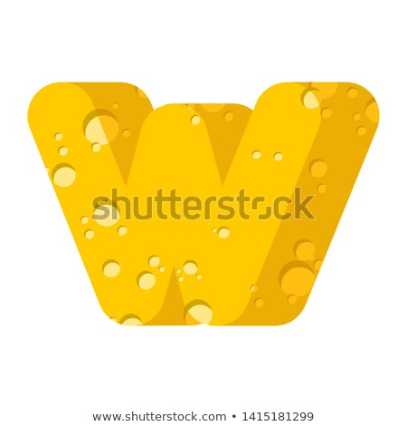 Letter W cheese font. Symbol of cheesy alphabet. Dairy Food type Stock photo © popaukropa