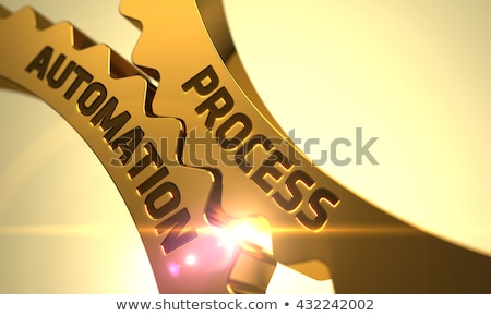 Ipari automatizálás arany fogaskerekek 3D fémes Stock fotó © tashatuvango