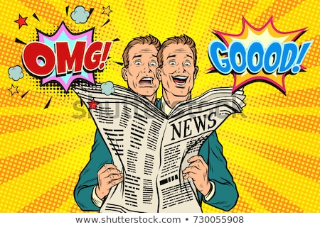 Good and bad newspaper news, the reaction of men Stock photo © studiostoks