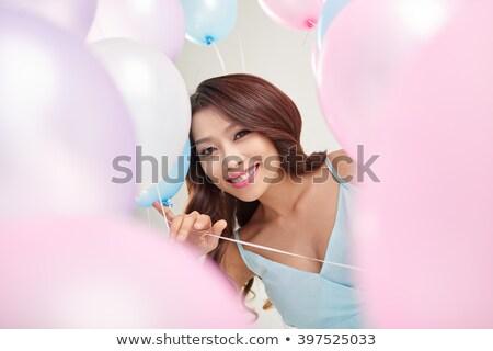 ストックフォト: 少女 · バルーン · 美しい · ピンク · 髪