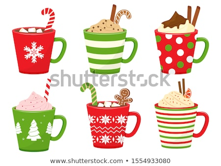 Milk and cookies vector icon. Chocolate cookies and a red cup of hot milk vector Stock photo © MarySan