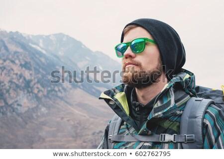 голову · Плечи · зрелый · человек · Hat · Солнцезащитные · очки - Сток-фото © is2