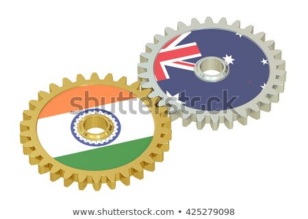 India - Australia. Metallic Cogwheels. 3D. Stock photo © tashatuvango