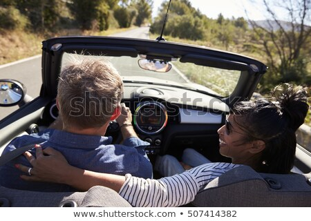couple in car her head on shoulder stock photo © is2