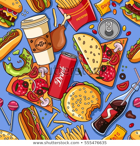 Stock photo: American Pizza Seamless Pattern Vector Background Food