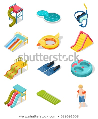 Water slides in pool isometric 3D element Stock photo © studioworkstock