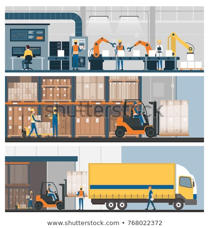 Warehouse management and delivery logistics set Stock photo © studioworkstock
