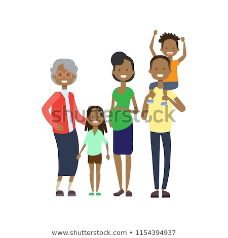 Big happy black family cartoon concept Stock photo © studioworkstock