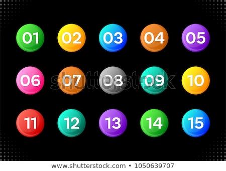 Quinze colorido números ícones preto projeto Foto stock © blumer1979