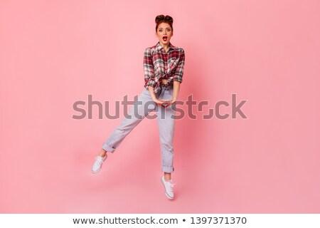 изображение беззаботный имбирь женщину рубашку Сток-фото © deandrobot