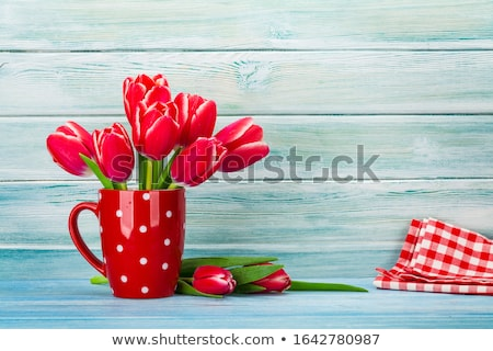 Red tulips and two wooden hearts stock photo © Lana_M
