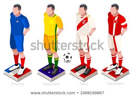 2018 soccer world championship. Set flags of group C - France, Australia, Peru, Denmark Stock photo © orensila