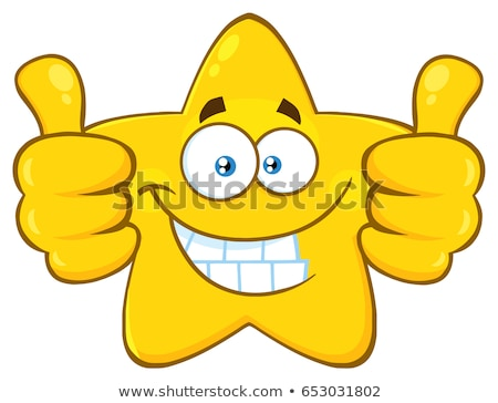 Smiling Yellow Star Cartoon Emoji Face Character Giving Two Thumbs Up Stock photo © hittoon