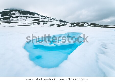 Ice lake near Aurlandsfjellet - tourist route in Norway Stock photo © Kotenko