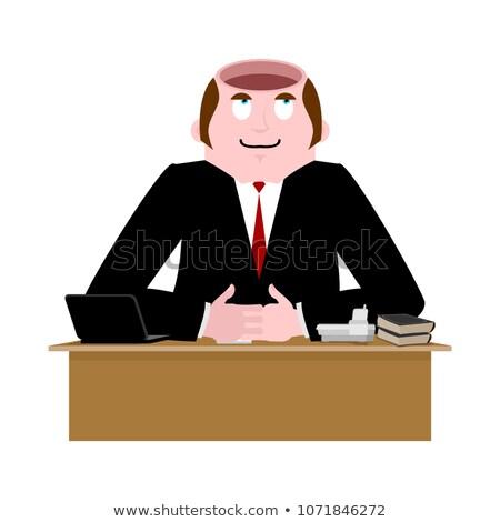 Stupid businessman. Open head is empty. Without brains Stock photo © popaukropa