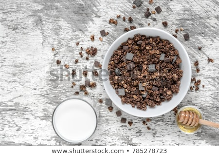 Házi készítésű csokoládé granola hozzávalók diók méz Stock fotó © Melnyk