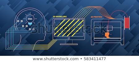 Digitális vektor 3D nyomtatás technológia gyártás Stock fotó © frimufilms