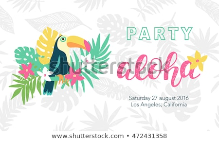 Vector Summer Holiday typographic illustration with exotic leaf on tropical plants background. Desig Stock photo © articular