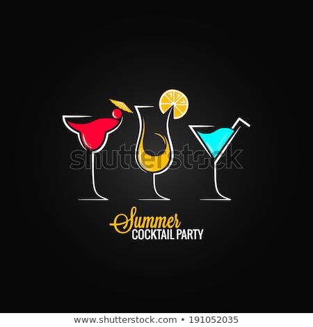 Summer Drink Poster with Cocktails and Champagne Stock photo © robuart