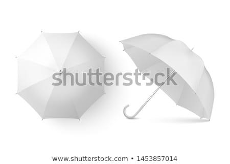 Foto stock: Homem · guarda-chuva · branco · isolado · ilustração · 3d · céu