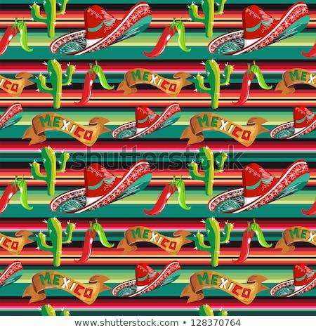 Тако мексиканская кухня бесшовный синий вектора шаблон Сток-фото © yopixart
