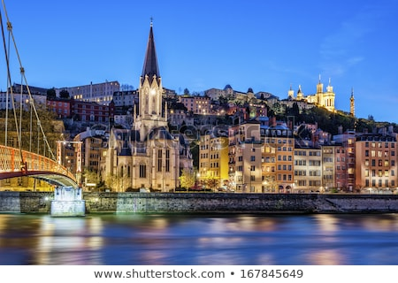 Night view of Lyon from footbridge Stock photo © vwalakte
