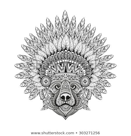 マスコット · バイソン · ネイティブ · アメリカ先住民 · 実例 · かわいい - ストックフォト © lenm