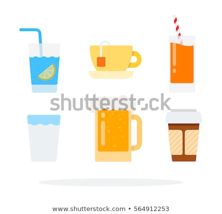 A set of glass cups with hot coffee with foam on a gray backgrou Stock photo © artjazz
