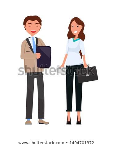 Man zwarte map handen vrouw leder Stockfoto © robuart