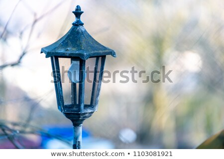 old fashioned street lamp with houses of parliament illuminated stock photo © monkey_business
