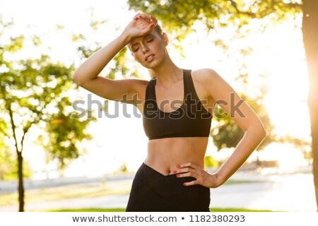 Stok fotoğraf: Yorgun · sıkılmış · genç · spor · kadın