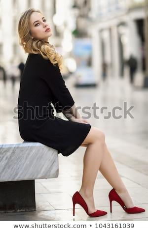 mulher · atraente · vestido · preto · azul · sapatos · posando - foto stock © acidgrey