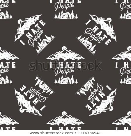 Gyűlölet emberek végtelen minta terv hegy kempingezés Stock fotó © JeksonGraphics