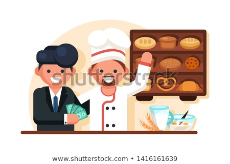 Businessman giving money man chef in bakery shop. Stock photo © jossdiim
