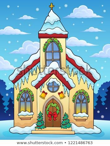 Invierno edificio de la iglesia imagen edificio cruz arte Foto stock © clairev