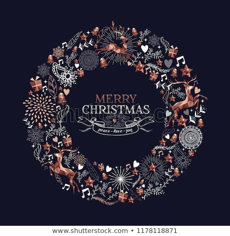karácsony · új · év · réz · alacsony · szarvas · kártya - stock fotó © cienpies