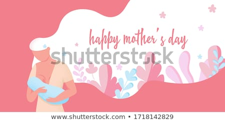 Mother feeding little baby flat poster Stock photo © jossdiim