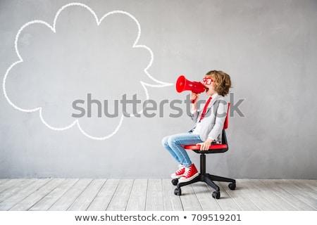 Biznesmen Bańka tekst komunikacji szef Zdjęcia stock © MaryValery