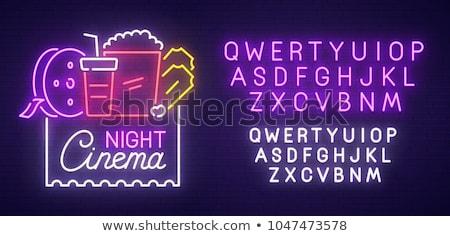 movie night neon label stock photo © anna_leni