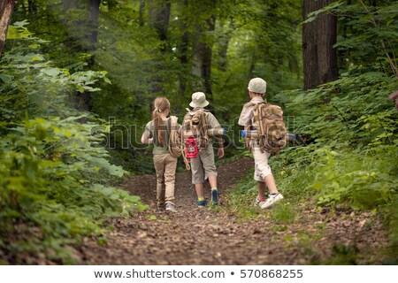 Erkek kız izci kamp orman örnek Stok fotoğraf © bluering